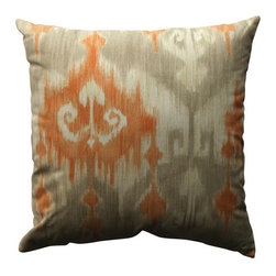 Marlena Ikat Coral Taupe Beige Pillow - - Pillow Perfect Marlena Ikat Orange 18-inch Throw Pillow  - Sewn Seam Closure  - Spot Clean Only  - Finish/Color: Coral/Taupe/Beige  - Product Width: 18  - Product Depth: 18  - Product Height: 5  - Product Weight: 1.5  - Material Textile: 100% Cotton  - Material Fill: 100% Recycled Virgin Polyester Fill Pillow Perfect - 513157