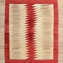"ALRUG - Handmade Beige Oriental Kilim  7' x 8' 6"" (ft) - This Afghan Kilim design rug is hand-knotted with Wool on Wool."