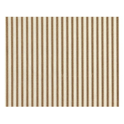 "Close to Custom Linens - 30"" Tiers Tailored Suede Brown Ticking Stripe, Unlined - A charming traditional ticking stripe in suede brown on a cream background."