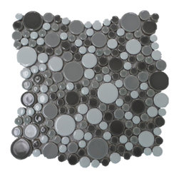 """GL Stone - Bubble White and Grey Circle Mosaic tile, 1 Carton ( 11 Sheets ) - This circles mosaic tile is random round pieces on 12.0"""" X 12.0"""" mesh tile sheet. The circle mosaic comes with polished white,light grey and dark grey color. The bubble pattern mosaic is a great way to enhance the decor of interior project, such as bathroom floor,shower surround, kitchen floor, shower space, dining room, balcony floor,etc."""