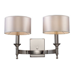 Elk Lighting - ELK Lighting  Pembroke 2-Light Wall Sconce - Unique In Form, The Pembroke Collection Features A Concave Arm Design For A Distinct Appearance. Light Silver Drum Shades And A Polished Nickel Finish Add To The Ambiance.