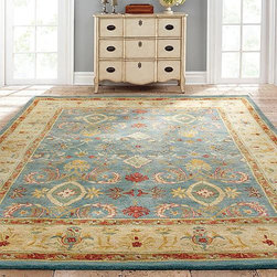 Frontgate - Odeon Hand-Tufted Area Rug - Hand-spun, 100% wool. Ancient pot-dying color technique. 100% cotton backing. Our Odeon Hand-Tufted Area Rug uses prized carpet motifs of the Northwest Persian weaving capitals of Sultanabad and Mahal. Featuring graphic flower heads, palmettes, and geometric tracery, this finely crafted area rug densely weaves wool into a thick pile with extremely rich colors.  .  .  . Imported. Rug designs will vary by size.