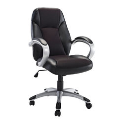 Modway - Modway EEI-720 Resonate Office Chair in Black - Get into rhythm with punctuated moments of acceleration. The Resonate High Back Office Chair is a good and economical lesson in what makes functionality so meaningful. With a plush mesh padded back and seat and fashionably rounded dual-toned arms, take your day to the max without maxing out your credit card. Resonate comes with lumbar support, pneumatic height adjustment, a black nylon base, dual wheel carpet casters and a full 360 degree swivel.
