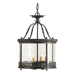 Currey and Company - Grayson Ceiling Lantern - An attractively detailed wrought iron design forms the pinnacle of this small scale ceiling lantern while decorative metal bands surround the top and bottom of the vintage glass panels. The finish is French Black. This four light lantern is part of the Lillian August Collection for Currey & Company.