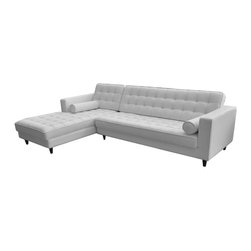 """#N/A - Romano Sectional White - Left - Romano Sectional White - Left. Seat Height: 17""""; Chaise Depth: 67"""""""