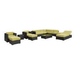 """LexMod - Fusion 12 Piece Outdoor Patio Sectional Set in Espresso Peridot - Fusion 12 Piece Outdoor Patio Sectional Set in Espresso Peridot - Harmonious positioning lends grace to every gathering with this sprawling outdoor sectional set. Commingle as participants contribute individual strengths to combine into a collective powerhouse of perfection. Turn your surroundings into a sought after meeting place in this consummate arrangement of beauty. Set Includes: One - Fusion Outdoor Wicker Patio Chaise Lounge One - Fusion Outdoor Wicker Patio Coffee Table One - Fusion Outdoor Wicker Patio Ottoman One - Fusion Outdoor Wicker Patio Side Table Two - Fusion Outdoor Wicker Patio Armchairs Two - Fusion Outdoor Wicker Patio Armless Sections Two - Fusion Outdoor Wicker Patio Mini Ottomans Two - Fusion Outdoor Wicker Patio Sofa Sections Synthetic Rattan Weave, Powder Coated Aluminum Frame, Water & UV Resistant, Machine Washable Cushion Covers, Easy To Clean Tempered Glass Top, Ships Pre-Assembled Overall Product Dimensions: 157""""L x 109""""W x 26""""H Coffee Table Dimensions: 43""""L x 24""""W x 12""""H Armchair Dimensions: 30""""L x 30""""W x 26""""H Armless Section Dimensions: 30""""L x 26""""W x 26""""H Chaise Lounge Dimensions: 79""""L x 30""""W x 12""""H Mini Ottoman Dimensions: 24""""L x 24""""W x 12""""H Sofa Section Dimensions: 30""""L x 53""""W x 26""""H Side Table Dimensions: 18""""L x 18""""W x 18""""H Ottoman Dimensions: 30""""L x 30""""W x 26""""H Armrest Dimensions: 3""""W Seat Height: 12""""H - Mid Century Modern Furniture."""