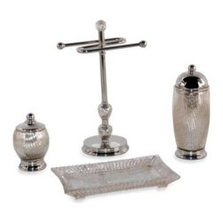 """Wamsutta - Wamsutta Sophia Bath Fingertip Towel Stand - The Sophia Bath Ensemble brings glamour and luxury to your bathroom countertop with its delicately ribbed glass shapes and silver finish. Fingertip Towel Stand measures 7"""" W x 6"""" D x 12"""" H. Metal accents are finished in a warm polished nickel."""