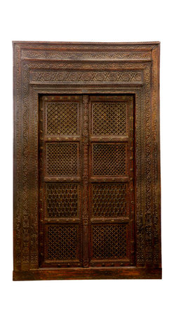 Sierra Living Concepts - Hand Carved Indian Haveli Salvaged Wood Door - Haveli architecture represents a unique and beautiful form of design. The name ''Haveli'' is often translated to mean 'mansion' and doors such as this adorned the splendid homes of ancient India.