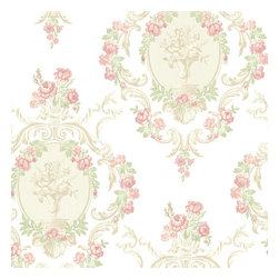 Brewster Home Fashions - Maybelle Pink Cameo Damask Wallpaper. - Invite a scrolling floral damask wallpaper into your home adorned with light pinks and greens. Pearlescent cameos and beige accents create a Victorian era masterpiece.