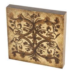 Brandi Renee Design - Faux Gold & Bronze Floral Design Handpainted Wall Art, Wood Tile - This gorgeous hand painted piece is a beautiful art tile in gold and bronze with copper leaf scroll adornment.
