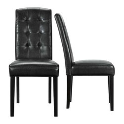 Modway - Perdure Dining Chairs Set of 2 in Black - Mix timelessness with modern appeal in this Parsons style dining chair. Like the favorite pair of jeans which can be dressed up or down and tailored to every occasion, the rich simplicity of the Perdure chair makes it a perfect accessory for your every need.