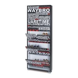 Sarmog - Slub Black Shoe Rack with 5 Folding Single-Depth Doors and Serigraph NYC Doors - Complete your designer bathroom with this designer shoe rack from Sarmog.