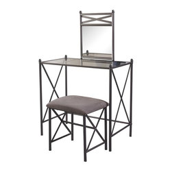 Linon - Mission Hills Vanity Set - Neutral microfiber upholstered stool. Some Assembly Required. Cement Powder Coated Finish. Vanity size: 32 in. W x 18 in. D x 31 in. H. Mirror size: 16 in. W x 1 in. D x 19.75 in. H. Bench size: 17 in. W x 14 in. D x 18 in. H. Overall Dimensions: 32 in. W x 18 in. D x 31 in. H (38 lbs)The Mission Hills Vanity Set is a classic addition to any bedroom. Perfect for a range of decor styles, the vanity has a cement colored finish. A matching stool features a plush neutral microfiber seat for comfort. The spacious glass top is ideal for storing makeup and accessories, while the large mirror makes it simple to see yourself. Decorative in.X in. designed sides add interest to the straight lines.