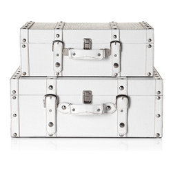 Stylish White Veneto Suitcases - Ooh, ahh. I love everything about these. White. Nailheads. Shiny nickel. Straps and buckles. They're hip, high fashion storage at its best. Intended for decorative and storage use only. And I know just where to put them.