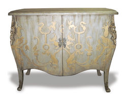 Koenig Collection - French Curvy Chest, Distressed Metallic Blue Grey With Gold - French Curvy Chest, Distressed Metallic Blue Grey with Gold