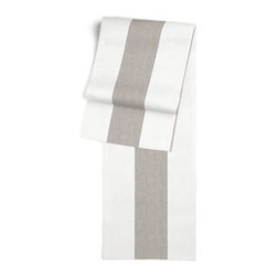 Gray Linen Awning Stripe Custom Table Runner - Get ready to dine in style with your new Simple Table Runner. With clean rolled edges and hundreds of fabrics to choose from, it's the perfect centerpiece to the well set table. We love it in this gray and white awning stripe in luxurious pure linen for an elegant, breezy addition to any classic home.