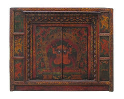 Golden Lotus - Oriental Tibetan Style Animal Pattern Offer Table Cabinet - This is an old cabinet restored with hand drawing Tibetan animal & flower pattern and motif. There are hand carved accent around the doors. A small platform is built for offering display. It can be used simply as an accent cabinet with its special decorative graphic.