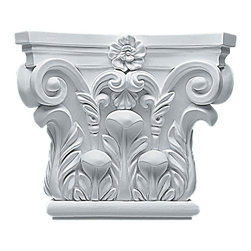 "Ekena Millwork - 8 5/8""W x 7 1/4""H Corinthian Capital (Fits Pilasters up to 5 1/4""W x 5/8""D) - 8 5/8""W x 7 1/4""H Corinthian Capital (Fits Pilasters up to 5 1/4""W x 5/8""D). Our appliques and onlays are the perfect accent pieces to cabinetry, furniture, fireplace mantels, ceilings, and more. Each pattern is carefully crafted after traditional and historical designs. Each polyurethane piece is easily installed, just like wood pieces, with simple glues and finish nails. Another benefit of polyurethane is it will not rot or crack, and is impervious to insect manifestations. It comes to you factory primed and ready for your paint, faux finish, gel stain, marbleizing and more."
