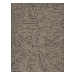 Kathy Kuo Home - SAMPLE SWATCH - Sample fabric/ leather swatch for (Vintage Masculine London Map Wallpaper - Coffee) sent only.