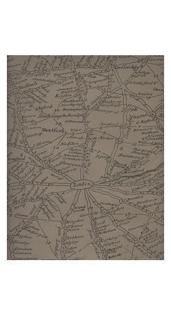 Kathy Kuo Home - Vintage Masculine London Map Wallpaper - Coffee - Old England may have been merry, but it was also pretty complex, as this map of hand-drawn settlements reveals. Reproduced as wallpaper, it lets you flaunt your Anglophile style.