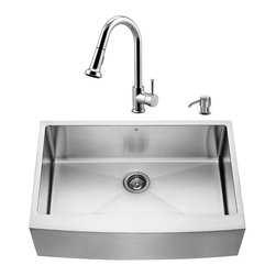"VIGO Industries - VIGO All in One 33-inch Farmhouse Stainless Steel Kitchen Sink and Chrome Faucet - Breathe new life into your kitchen with a VIGO All in One Kitchen Set featuring a 33"" Farmhouse - Apron Front kitchen sink, faucet, soap dispenser, matching bottom grid and sink strainer."