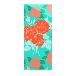 """Kess InHouse - Anneline Sophia """"Summer Rose Orange"""" Teal Green Metal Luxe Panel (9"""" x 21"""") - Our luxe KESS InHouse art panels are the perfect addition to your super fab living room, dining room, bedroom or bathroom. Heck, we have customers that have them in their sunrooms. These items are the art equivalent to flat screens. They offer a bright splash of color in a sleek and elegant way. They are available in square and rectangle sizes. Comes with a shadow mount for an even sleeker finish. By infusing the dyes of the artwork directly onto specially coated metal panels, the artwork is extremely durable and will showcase the exceptional detail. Use them together to make large art installations or showcase them individually. Our KESS InHouse Art Panels will jump off your walls. We can't wait to see what our interior design savvy clients will come up with next."""