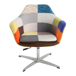 """Chintaly Imports - Pneumatic Swivel Leisure Chair - 360 degree swivel, Fun and fresh patch work fabric, Pneumatic adjustable height from 16.54"""" to 20.47"""" , Comfortable seat, Aluminum 4-star base, CA fire retardant foam, Easily assembled"""