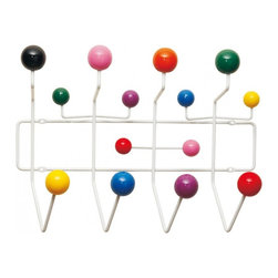 Hang-It-All Coatrack - Add a bright splash of pop color and wall art to your front hall, foyer, or any room in your house or office. Made of white metal and multi-color wood balls, this pop color hanging rack holds jackets, scarves, skates, knapsacks, jump rope, etc. More than just a conversation piece, the Hang-It-All holds anything that slips over its colorful hooks.