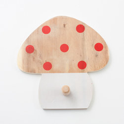 Polka Dots Mushroom Coat Rack - This is a cute little spot to hang baby's coat and hat.