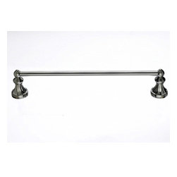 "Top Knobs - Hudson Bath 18"" Single Towel Rod - Brushed Satin Nickel - Length - 20 1/4"", Projection - 3 3/4"", Center to Center - 18"", Bar Stock Diameter - 5/8"" Base Diameter - 2 1/4"" w (x) 2 1/4"" h"