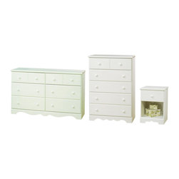 South Shore - South Shore Summer Breeze Dresser Chest and Nightstand Set in White Wash - South Shore - Dressers - 32100273PKG