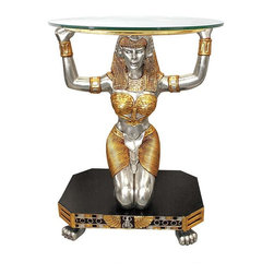 EttansPalace - Ancient Egyptian Goddess Statue Sculpture Glass Console Foyer Hall Table - Maat - the Egyptian goddess of law, truth and justice - kneels and raises her sturdy arms in service in this artistic synergy of style and function. Waiting to be admired from all angles our statue is cast in quality designer resin and hand-painted in the rich tones of the Egyptian palette. This large-scale, display-quality, sculptural work of furniture art transforms any home bar, entertainment area or recreation room into something truly magnificent!