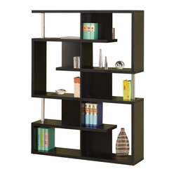 Adarn Inc - Modern White/Black Finish Bookcase w/ Compartments Chrome Support Beams, Black - A geometric combination of large plus small compartments and give this bookcase a stylish, modern flair. Store and display items with this sleek white/black finish bookcase in a living room or office. Chrome support beams complete the its fun style. This bookcase has it all with versatile options and a unique design. Other Decoration is not Included.