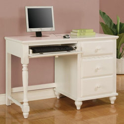 Coaster - Pepper Pedestal Desk - Traditional style. Three French dovetail drawers. Keyboard rollout drawer. Metal side glides. Short and turned feet. Round knobs. Made from wood. Crisp white finish. 45 in. W x 20 in. D x 30.5 in. H. WarrantyYour child will have an ideal location to study hard and long with this beautiful pedestal desk. Additional three drawers are wonderful for keeping papers, pens, USBs, books or any other office supply. Make your child's bedroom a pleasing space for homework and learning with this attractive desk.