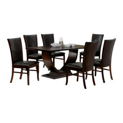 "Casa Blanca - 7-Piece Isabella Collection Espresso Dining Table Set - 7-Piece Isabella collection espresso finish wood pedestal dining table set with leather like upholstery. This set includes the table with curved style modern looking base pedestal and 6 side chairs upholstered in a leather like with wood trim on the sides of the backs. Table measures 40"" x 72"" X 30"" H. Some assembly required."