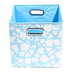 Modern Littles - Sky Giraffe Folding Storage Bin - Stuff it! This clever, colorful storage bin can hold it all, from books to blankets to toys. And it's totally totable, too. Just grab the handles and you're good to go.