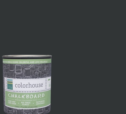 Colorhouse Interior Chalkboard Paint, Nourish .06 - Color house Chalkboard paint turns any interior surface into a chalkboard. All Color house paints are zero VOC, low-odor, and have superior coverage and durability. Color house paints are 100% acrylic with no VOCs (volatile organic compounds), no toxic fumes/HAPSs-free, no reproductive toxins, and no chemical solvents.