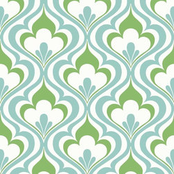 Brewster Home Fashions - Lola Blue Ogee Bargello Wallpaper Bolt - Dressed to impress this fabulous geometric wall covering energizes decor with a fresh pop of blue and green. A stylish ogee design climbs brilliantly up walls entrancing a room in fashionable detail.