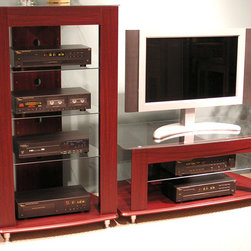 4D Concepts - 2 Pc TV & Audio Entertainment Set in Cherry F - Organize your electronics into the ultimate entertainment center with this television and audio stand combo.  Each features a bold and thick face frame front with softly curving compositions alternating between a dark cherry finish and glass shelving to provide a sense of the contemporary.  You can proudly display TV and audio equipment on the glass shelves of this entertainment center.  Dark cherry frame includes face fronts for style and structuring.  Store your television and all your audio equipment in this beautiful and spacious entertainment center set. * Includes Tv stand and audio stand. TV stand:. Contours of the 0.38 in. thick glass top. Can accomodate 44 in. Tv. Bottom shelf. 1 Adjustable glass shelf. Back panels are manufactured with individual cord openings to hide all of electrical cords. Adjustable silver feet are used to level the unit and constructed of composite board with durable PVC laminate. Audio stand:. Contours of the glass top and base. Profiled edge on the bottom shelf. 3 Adjustable glass shelves below the Tv shelf that allows you to store your electronic components. Back panels are manufactured with individual cord openings to hide all of electrical cords. Adjustable silver feet are used to level the unit and constructed of composite board with durable PVC laminate. Assembly required. TV stand: 23.3 in. D x 44.5 in. W x 19.5 in. H (69 lbs.). Audio stand: 23.3 in. D x 28.75 in. W x 51.5 in. H (78 lbs.)
