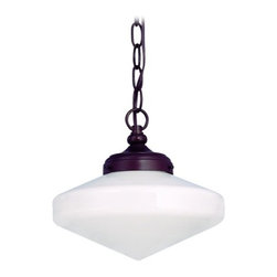 Design Classics Lighting - 10-Inch Period Lighting Schoolhouse Mini-Pendant Light - FA4-220 / GE10 / A-220 - Neuvelle bronze finish mini-pendant light with Glenfair schoolhouse opal white glass. Takes (1) 150-watt incandescent A21 bulb(s). Bulb(s) sold separately. UL listed. Dry location rated.