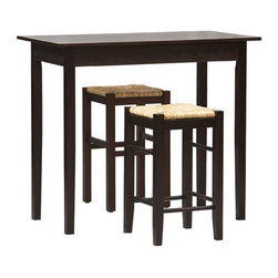 Linon - Linon Tavern 3-Piece Counter Height Set Multicolor - 02850ESP-01-KD-U - Shop for Dining Sets from Hayneedle.com! The Tavern 3-Piece Counter Set gives you space-saving convenience. This set features a simple rectangular table on long sturdy legs and two backless counter-height stools with woven rush seats. Made from solid Chinese hardwood and wood composite this set is topped off with a rich espresso finish. Stools tuck neatly under the table when not in use. Assembly is required. With its clean straight lines and dark finish the Tavern set will definitely bring contemporary flair to your dining room. Please note: This item is not intended for commercial use. Warranty applies to residential use only.About Linon Home DecorLinon Home Decor Products has established a reputation in the market for providing the best trend-right products at the right price while offering excellent quality style and functional furnishings to every room in the home. Linon offers a broad selection of furnishings for today's discriminating and demanding retail environments. They offer outstanding values for every room; a total commitment of quality service and value that is unsurpassed in their industry.