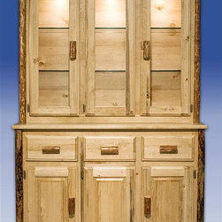 Montana Woodworks - Glacier Country China Hutch w Sideboard - The bottom part has two cabinets. Three smaller drawers. Hutch has three large, glass fronted doorsli>Adjustable glass shelves. Three display lights. Handcrafted. Lodge-pole pine log accents