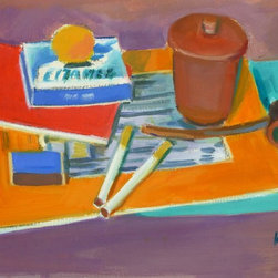 French Still Life, C. 1960, Painting - Original, one of a kind colorful still life featuring a pipe, cigarettes, and notebooks by French artist Madeleine Scali, circa 1960. Signed lower right.