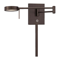 """George Kovacs - George Kovacs Round Head LED Bronze Swing Arm Wall Lamp - From the George Kovacs lighting collection comes this sleek LED swing arm wall lamp with a low-profile round head. The design is smart and contemporary with energy efficient LED lighting and three easy options for controlling the light output. It comes in a copper bronze patina finish and adjusts easily at the joint on the arm making it a great option for task or reading lighting. Plug-in style design is easy to install; simply mount on the wall plug the cord into any standard wall outlet and turn on! With an average lifespan of 30000 hours this LED lamp is designed to last. Round head LED swing arm. Copper bronze patina finish steel shade. Plug-in style; matching cord cover included. Includes 8 watt LED. Light output 320 lumens. 84 CRI. Color temperature 3000K. Push button dimmer. Touch memory switch. Lit on/off button. Includes 6 feet cord. 13 3/4"""" wide. 6 1/4"""" high. Extends 5"""" to 23 1/2"""" maximum from the wall.  Round head LED swing arm.  Copper bronze patina finish steel shade.  Plug-in style; matching cord cover included.  From the George Kovacs wall lamp collection.  Includes 8 watt LED.  Bulb life averages 30000 hours at 3 hours per day.  84 CRI.  Light output 320 lumens.  Color temperature 3000K.  Push button dimmer.  Touch memory switch.  Lit on/off button.  Includes 6 feet cord.  13 3/4"""" wide.  6 1/4"""" high.  Extends 5"""" to 23 1/2"""" maximum from the wall."""