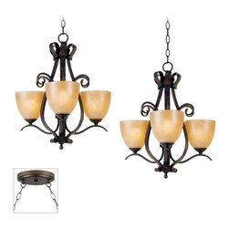 """Franklin Iron Works - Traditional Modella Bronze Double Multi Light Pendant - Our multi swag chandeliers let you add designer lighting to any room. The special swag canopy installs into any ceiling junction box just like a normal ceiling light or chandelier. Install hooks in the ceiling and swag the chain to the canopy; adjust the hanging length as desired. With the hanging options you can get the exact look and light placement you need. This version features a bronze finish double swag canopy. It's paired with two designer bronze finish three-light chandeliers with warm scavo glass from the Modella collection by Franklin Iron Works. Multi swag chandelier. With two designer Modella chandeliers. Includes bronze finish special canopy adaptor. Installs into any ceiling junction box. Includes swag hooks and mounting hardware. Each chandelier includes 14 feet or wire 6 feet of chain. Takes six 60 watt bulbs (not included). Canopy is 7"""" wide. Each chandelier is 21 3/4"""" high 20 1/2"""" wide. Some assembly required; instructions included.  Multi swag chandelier.  With two designer  Modella chandeliers.  Includes bronze finish special canopy adaptor.  Installs into any ceiling junction box.  Includes swag hooks and mounting hardware.  Each chandelier includes 14 feet or wire 6 feet of chain.  Create drama with this large chandelier.  Takes six 60 watt bulbs (not included).  Canopy is 7"""" wide.  Each chandelier is 21 3/4"""" high 20 1/2"""" wide.  Some assembly required; instructions included."""