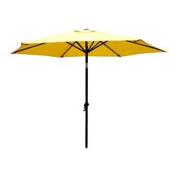 International Caravan - 8 Foot Aluminum Patio Umbrella with Tilt and Crank - Weather resistant fabric in your choice of bright, summer inspired colors makes this outdoor umbrella an excellent choice for your deck or patio. The umbrella has a rust resistant aluminum pole and features a crank and tilt mechanism for easy operation. Includes a durable rust free aluminum pole. Base not included. Pictured in Yellow. 6 Steel Ribs. Crank and tilt mechanism. Polyester fabric cover. Complete weather proof protection against harsh weather and UV Light Fading. 8.2 ft. dia. x 8 ft. H