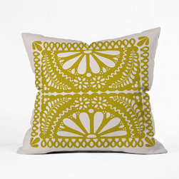 Picado Pillow Cover in Saffron - With a sweet floral design inspired by traditional papel picado, this charming pillow brings color and life to your favorite seat. Its sturdy fabric makes it a natural choice for the patio, as well.