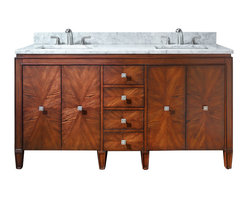 Avanity - Brentwood Double Vanity Only - This gorgeous vanity offers plenty of space to stash your stuff, plus dual sinks so you and your partner can both get ready at the same time. An artful pairing of modern and traditional design, it has a unique starburst pattern on the doors and drawer fronts that's achieved through a careful matching of wood veneers.