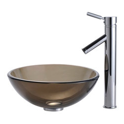 Kraus - Clear Brown 14 in. Glass Vessel Sink and Sheven Faucet (Chrome) - Finish: Chrome