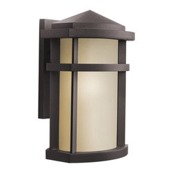 KICHLER - KICHLER 9167AZ Lantana Soft Contemporary/Casual Lifestyle Outdoor Wall Sconce - The Lantana™ collection of outdoor lighting is handsomely stylish with solidly defined lines and done in Architectural Bronze finish and Light Umber glass. This 1 light wall lantern uses a 100-W (M) lamp and is U.L. listed for wet location. U.S. Patent Pending.